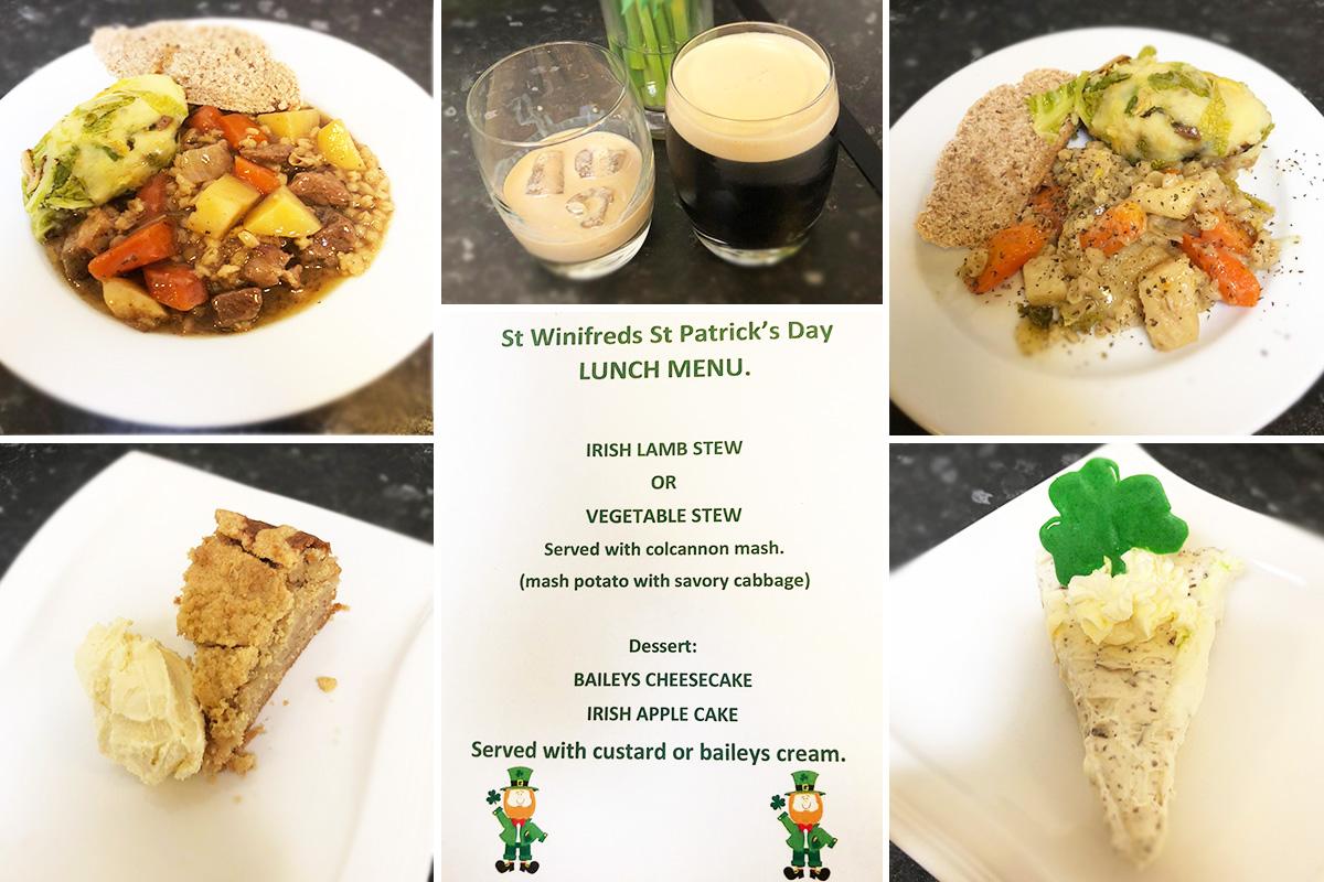 St Winifreds St Patricks Day meals